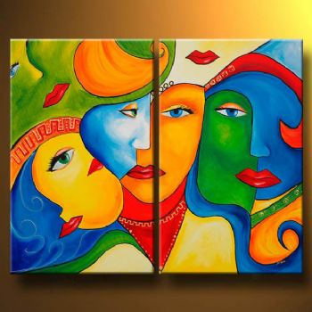 Lost Woman Modern Canvas Abstract Oil Painting Wall Art with Stretched Frame Ready to Hang