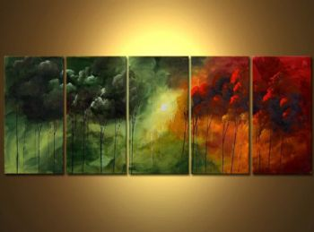 Love For All Seasons-Modern Canvas Art Wall Decor-Landscape Oil Painting Wall Art with Stretched Frame Ready to Hang