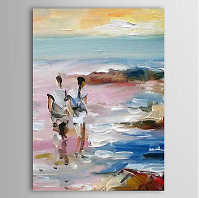 Lovers Walking Alone Beach-Seascape Oil Painting Wall Art-Modern Canvas Art Wall Decor with Stretched Frame Ready to Hang