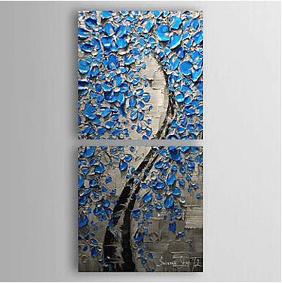 Lucky Blue-Floral Oil Painting Wall Art-Modern Canvas Art Wall Decor with Stretched Frame Ready to Hang