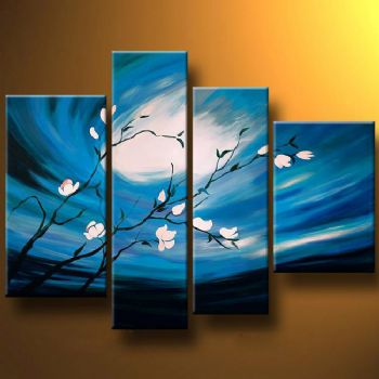 Lunar Flowers-Modern Canvas Art Wall Decor-Floral Oil Painting Wall Art with Stretched Frame Ready to Hang