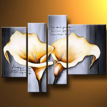 Lyrical Duo-Modern Canvas Art Wall Decor-Floral Oil Painting Wall Art with Stretched Frame Ready to Hang