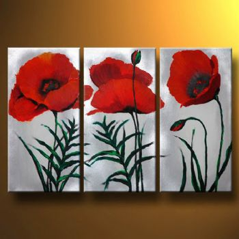 Magenta Poppies-Modern Canvas Art Wall Decor-Floral Oil Painting Wall Art with Stretched Frame Ready to Hang