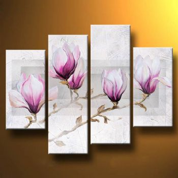 Magnolias In The Mist-Modern Canvas Art Wall Decor-Floral Oil Painting Wall Art with Stretched Frame Ready to Hang
