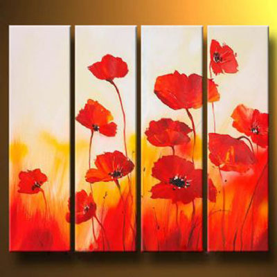 Meadow In Red-Modern Canvas Art Wall Decor-Floral Oil Painting Wall Art