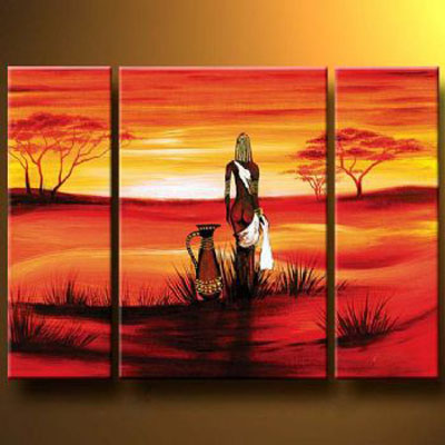 Meditation On Sunset-Modern Canvas Art Wall Decor-Landscape Oil Painting Wall Art with Stretched Frame Ready to Hang
