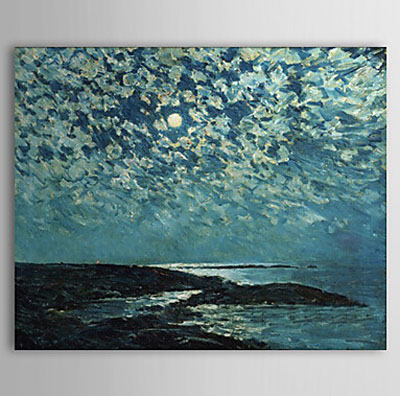 Moonlight Isle of Shoals-Landscape Oil Painting Wall Art-Modern Canvas Art Wall Decor