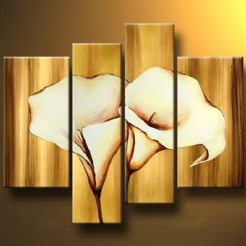 Mysterious Callas II-Modern Canvas Art Wall Decor-Floral Oil Painting Wall Art with Stretched Frame Ready to Hang