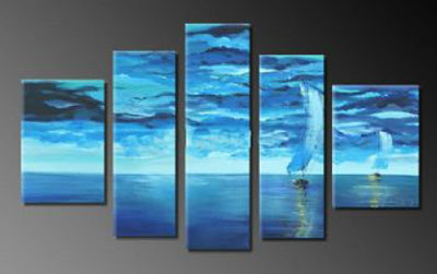 Navigation In The Moonlight I-Modern Canvas Art Wall Decor-Seascape Oil Painting Wall Art with Stretched Frame Ready to Hang