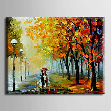 Night Scene II-Modern Canvas Art Wall Decor- Landscape Oil Painting Wall Art with Stretched Frame Ready to hang