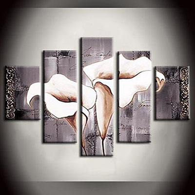 Mechanism Pure Lily White Flower Modern Canvas Art Wall Decor Floral Oil Painting  Wall