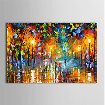 Rainy street landscape oil painting wall art modern canvas for Cheap canvas paintings for sale