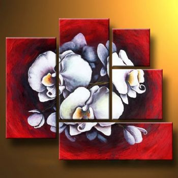 Orchid On Red Background-Modern Canvas Art Wall Decor-Floral Oil Painting Wall Art with Stretched Frame Ready to Hang