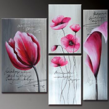 Pink Flowers-Modern Canvas Art Wall Decor-Floral Oil Painting Wall ...