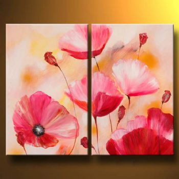 Pink poppies modern canvas art wall decor floral oil painting wall art with stretched