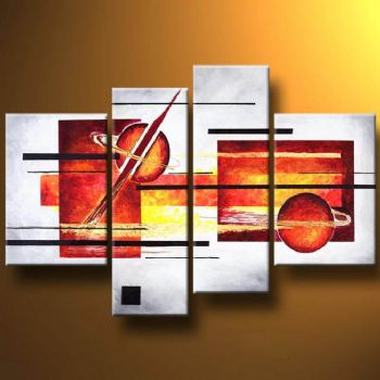 Planets-Modern Canvas Art Wall Decor-Abstract Oil Painting Wall Art with Stretched Frame Ready to hang