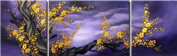 Plum Blossom II-Modern Canvas Art Wall Decor-Floral Oil Painting Wall Art with Stretched Frame Ready to Hang