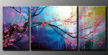 Plum blossom in the rain I-Modern Canvas Art Wall Decor-Floral Oil Painting Wall Art with Stretched Frame Ready to Hang