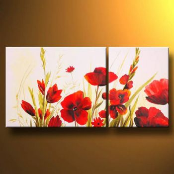 Poppies and other flowers modern canvas art wall decor floral oil painting wall art