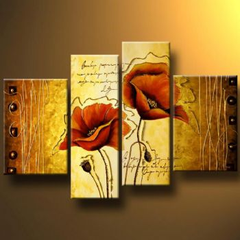Poppies Decorated With Gold I-Modern Canvas Art Wall Decor-Floral Oil Painting Wall Art