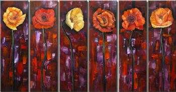 Poppies For You-Modern Canvas Art Wall Decor-Floral Oil Painting Wall Art with Stretched Frame Ready to Hang