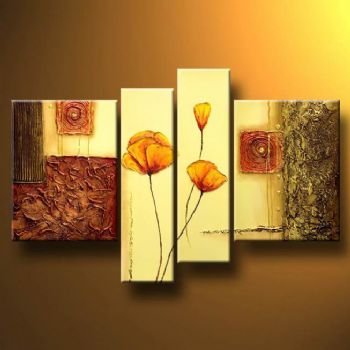 Poppies In A Stylish Composition-Modern Canvas Art Wall Decor-Floral Oil Painting Wall Art with Stretched Frame Ready to Hang