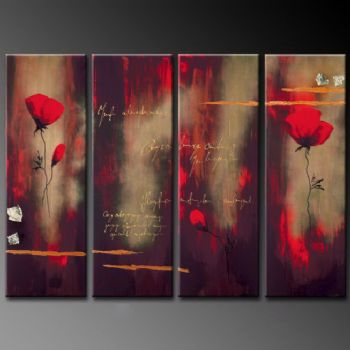 Poppies In The Mist-Modern Canvas Art Wall Decor-Floral Oil Painting Wall Art with Stretched Frame Ready to Hang