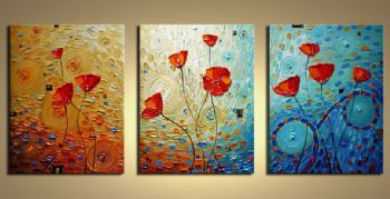 Poppies-Modern Canvas Art Wall Decor-Floral Oil Painting Wall Art with Stretched Frame Ready to Hang