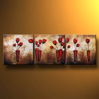 Poppies On The Gold Background-Modern Canvas Art Wall Decor-Floral Oil Painting Wall Art with Stretched Frame Ready to Hang