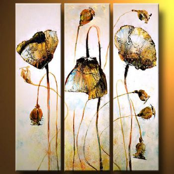 Poppies decorated With Gold II-Modern Canvas Art Wall Decor-Floral Oil Painting Wall Art with Stretched Frame Ready to Hang
