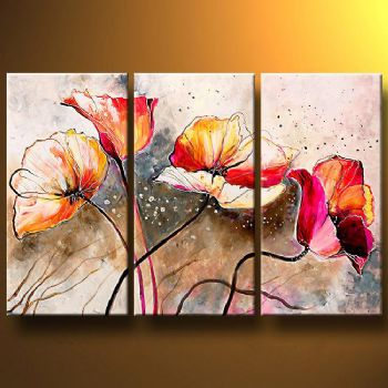 Poppies lashed By The Wind-Modern Canvas Art Wall Decor-Floral Oil ...