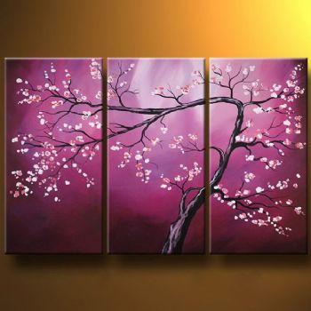 Purple Cherry Tree-Modern Canvas Art Wall Decor-Floral Oil Painting Wall Art with Stretched Frame Ready to hang