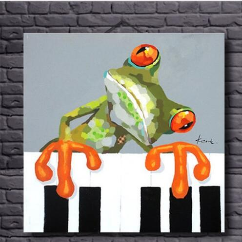Hand Painted Frog Play Piano -Oil Painting Wall Art-Modern Canvas Art Wall Decor with Stretched Frame Ready to Hang