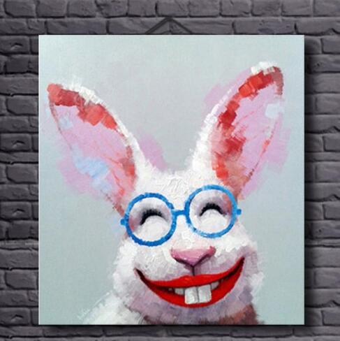 Hand Painted Hilarious Rabbit-Oil Painting Wall Art-Modern Canvas Art Wall Decor with Stretched Frame Ready to Hang