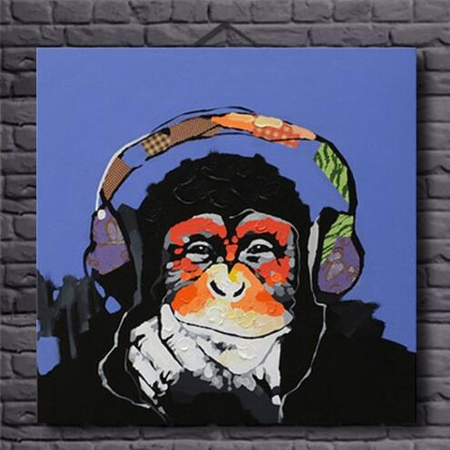 Hand Painted Gorilla Listen Music -Oil Painting Wall Art-Modern Canvas Art Wall Decor with Stretched Frame Ready to Hang