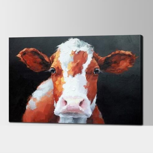 Hand Painted Cow -Modern Canvas Art Wall Decor -Animal Oil Painting Wall Art with Stretched Frame Ready to Hang
