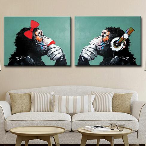 Hand Painted Love Gorillas Couples-Modern Canvas Art Wall Decor-Animal Oil Painting Wall Art with Stretched Frame Ready to Hang