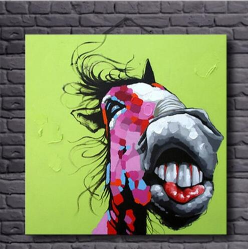 Hand Painted Comical Donkey Oil Painting Wall Art-Modern Canvas Art Wall Decor with Stretched Frame