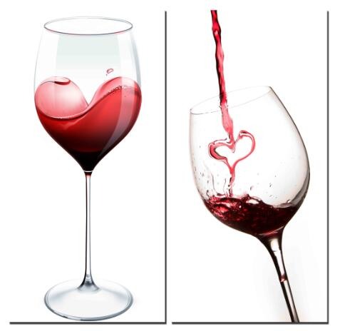 Red Heart Wine and Cups- Modern Canvas Art Wall Decor-Still Life Canvas Prints  sc 1 st  Shoppingwallart.com & Red Heart Wine and Cups- Modern Canvas Art Wall Decor-Still Life ...