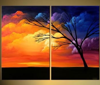 Reach-Modern Canvas Art Wall Decor-Landscape Oil Painting Wall Art with Stretched Frame Ready to Hang
