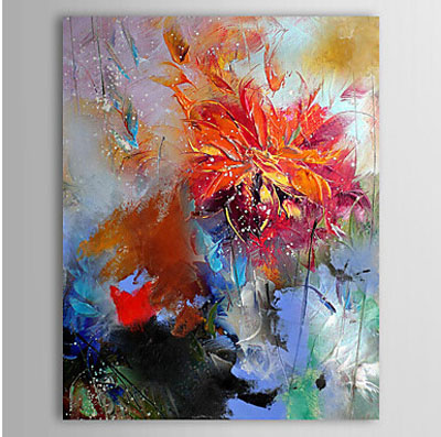 Red Flower-Floral Oil Painting Wall Art-Modern Canvas Art Wall Decor