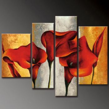Red Callas Legend-Modern Canvas Art Wall Decor-Floral Oil Painting Wall Art with Stretched Frame Ready to Hang