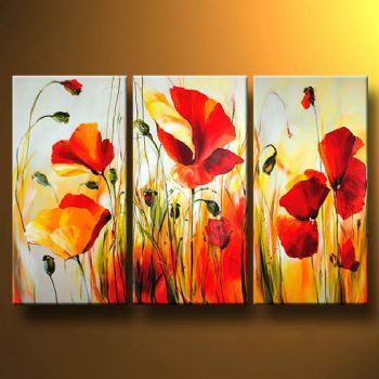 Red Meadow I-Modern Canvas Art Wall Decor-Floral Oil Painting Wall Art with Stretched Frame