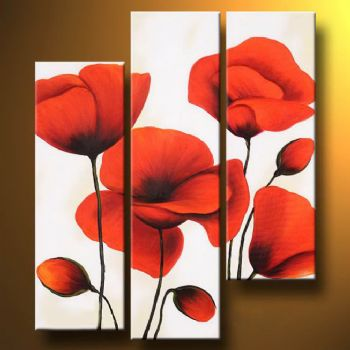 Red Poppies II -Modern Canvas Art Floral Oil Painting Wall Art Stretched and Framed Ready to Hang