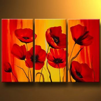 Red Poppies III-Modern Canvas Art Wall Decor-Floral Oil Painting Wall Art with Stretched Frame Ready to Hang