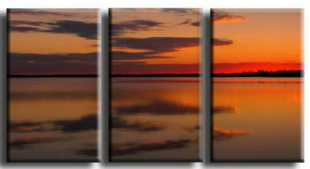 Red Sunset Lake-Modern Canvas Art Wall Decor-Seascape Oil Painting Wall Art with Stretched Frame Ready to Hang