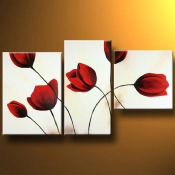 red tulips i modern canvas art wall decor floral oil painting wall