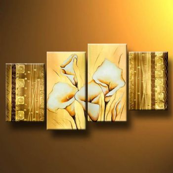 Richly decorated-Modern Canvas Art Wall Decor-Floral Oil Painting Wall Art with Stretched Frame Ready to Hang