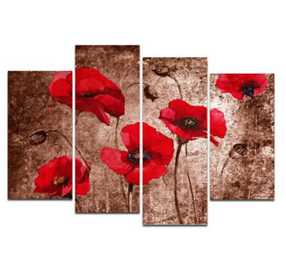 Red Poppies on Brown -Floral Canvas Wall Art for Wall Decor Stretched over Wooden Frame Ready to Hang