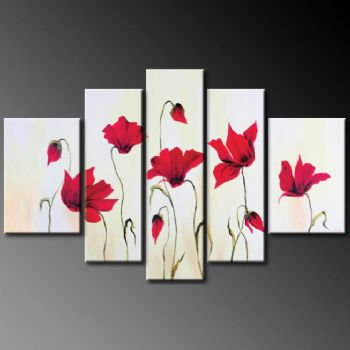 Scarlet Poppy Flowers-Modern Canvas Art Wall Decor-Floral Oil Painting Wall Art with Stretched Frame Ready to hang